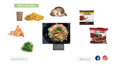 Dietista Nutricionista en Soria: Guiso de soja texturizada con setas de ostra y langostinos